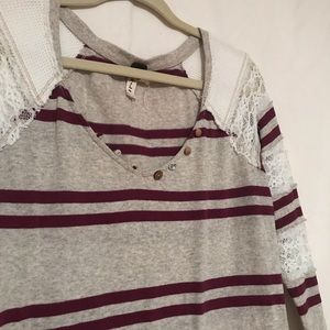 Free People Striped lace long sleeve